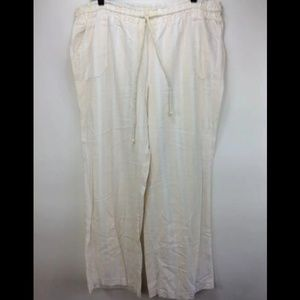 Cato Palazzo Pants XL White Tan Beach Casual Flowy